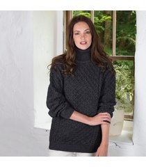 women's irish aran turtleneck sweater charcoal xl