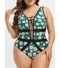 plus size daisy print fishnet insert one-piece swimsuit