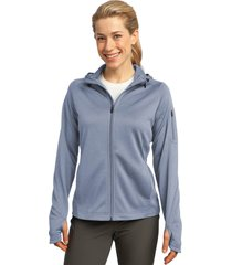sport-tek l248 tech fleece ladies full-zip hooded jacket - grey heather