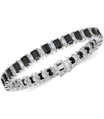 black sapphire (18 ct. t.w.) & white topaz (4 ct. t.w.) tennis bracelet in sterling silver