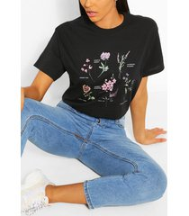 botaical flower print t- shirt, black