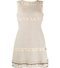 chanel pre-owned frayed trim shift dress - neutrals