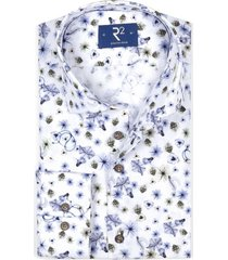 overhemd r2 wit met bloemenprint blauw lila