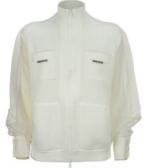 brunello cucinelli cotton english rib cardigan with crispy silk sleeves and shiny tab pockets