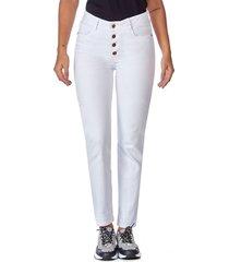 jean skinny botones blanco
