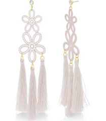 catherine malandrino women's casted pink flower design yellow gold-tone dangling tassel earrings