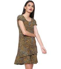 vestido fiveblu curto estampado preto/amarelo - kanui