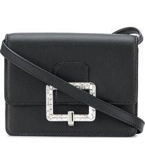bally julyet crystal-buckle crossbody bag - black