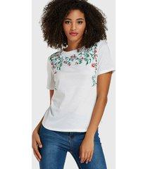 blanco hoja estampado floral redondo cuello camiseta de manga corta