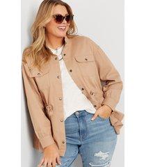 maurices plus size womens khaki tie waist jacket beige
