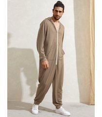 mono con capucha y bolsillo de canguro con cremallera informal para hombre mono