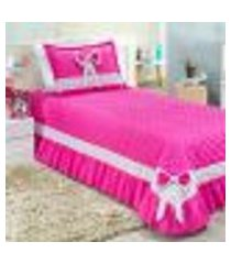 kit cobre leito menina infantil pink matelado com 3 peças 2,50m x 1,80m com porta travesseiro