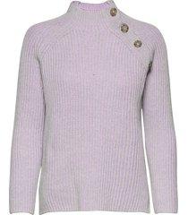 asymmetrical button mockneck raglan sweater stickad tröja lila gap