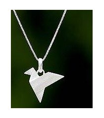 sterling silver pendant necklace, 'origami flight' (thailand)