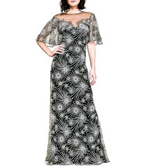 embroidery illusion gown