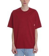 acne studios extorr t-shirt in bordeaux cotton