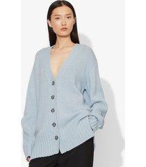 proenza schouler cashmere traveling rib knit cardigan sky blue melange l