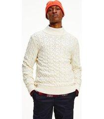 tommy hilfiger men's cable knit mock turtleneck sweater ivory - xl