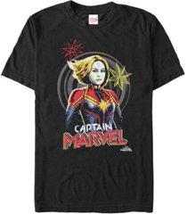 marvel men's captain marvel hand drawn portrait, short sleeve t-shirt