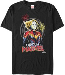 marvel men's captain marvel hand drawn portrait, short sleeve t-shirt