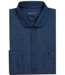 camisa dudalina jeans um bolso ml essentials masculina (v19 / o19 jeans escuro, 7)