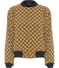 jaqueta feminina tartan - amarelo