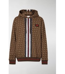 burberry striped monogram-print hoodie