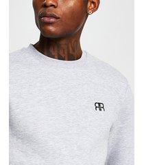 river island mens grey slim long sleeve 'rr' crew sweatshirt