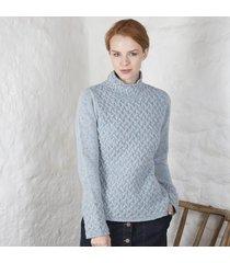 ladies trellis irish sweater blue xl