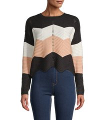 love and joy women's colorblock roundneck sweater - black combo - size xl
