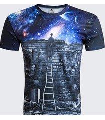 summer unique round collo starry sky t-shirt manica corta stampa astratta per uomo