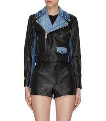 'cody' denim combo leather biker jacket