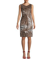 draped leopard-print dress