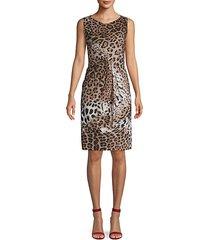 draped leopard-print dress