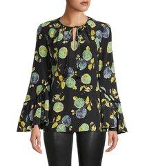 kobi halperin women's tate floral silk blouse - black multi - size s