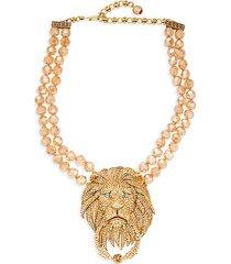 goldtone & crystal rhinestone lion door-knocker necklace