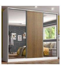 guarda roupa juvenil 100% mdf madesa kevin 3 portas de correr com espelhos - branco/rustic