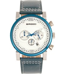 breed quartz ryker white dial chronograph genuine teal leather watch 45mm