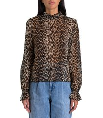 ganni animalier printed shirt