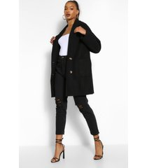 tall oversized wollen jas met zakken, zwart