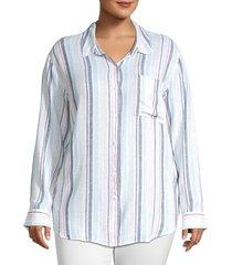 sanctuary women's keepers striped linen boyfriend shirt - mini garden - size 3x (22-24)