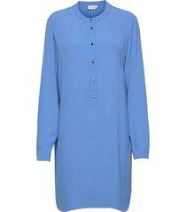 shirt dress in heavy moss crepe knälång klänning blå coster copenhagen