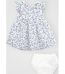vestido gap infantil floral com tapa fralda branco/azul - branco - menina - algodã£o - dafiti