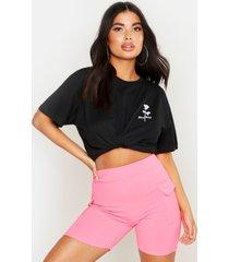 petite rozenprint t-shirt met zakdetail, zwart