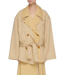 contrast insert double notch lapel belted trench coat