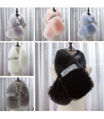 fashion faux fur collar fox fur scarf soft warm women shawl wrap cape