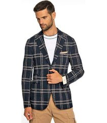 blue plaid single breasted jacket