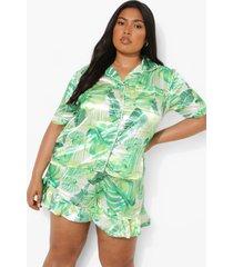 plus satijnen blad print pyjama set met shorts, green