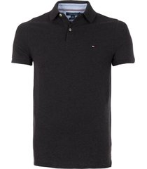polera polo core m stretch slim fit tommy gris tommy hilfiger