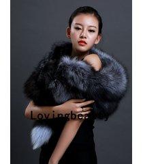 genuine silver fox fur scarf /cape/ collar / wrap grey shawl stole 100-135 cm